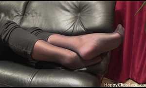 Stockinged footplay apart from mammy