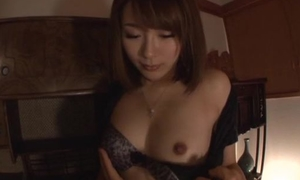 Hairy Japanese girl in fishnet stockings takes on thick pounding cock